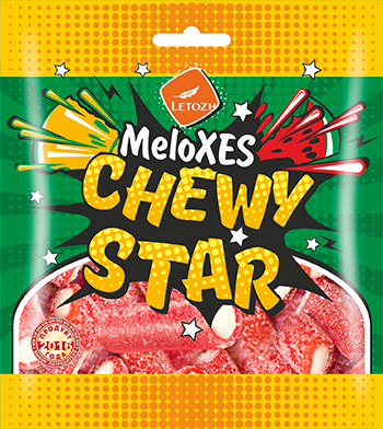 MeloXES CHEWYSTAR со вкусом watermelon and melon flavour sweets in sour-sweet dusting, jelly filled